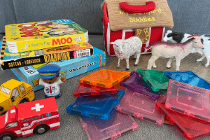 books, toys, and activities for toddlers on long car rides