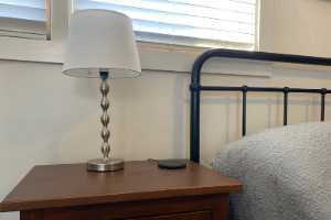 tidy nightstand with cleaning schedule
