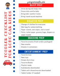 little kid checklist for road trips